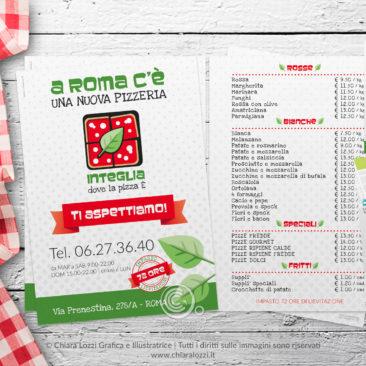 Grafica per la pizzeria Integlia a Roma