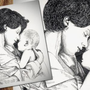 Illustrazione realizzata a piccoli tratti sottili e spessi ottenuti utilizzandopennini di spessore diverso